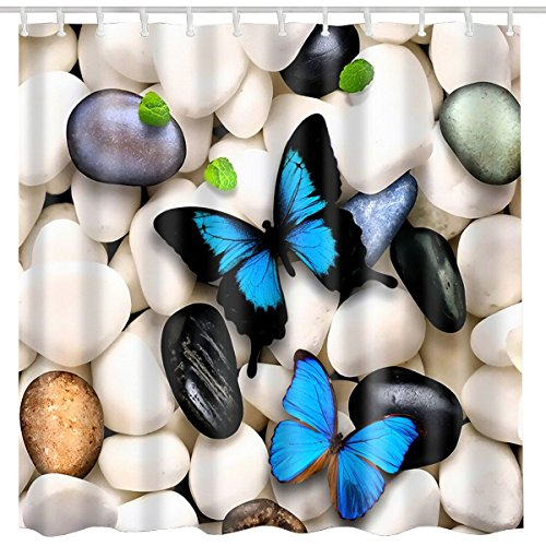 BROSHAN Butterfly Decor Shower Curtain Fabric,Cute Animal Beautiful Stone Country Style Spring Bath Curtain Set 3D Art Print,Waterproof Bathroom Accessories with Hooks,72x72 Inch,Ivory Blue and Black