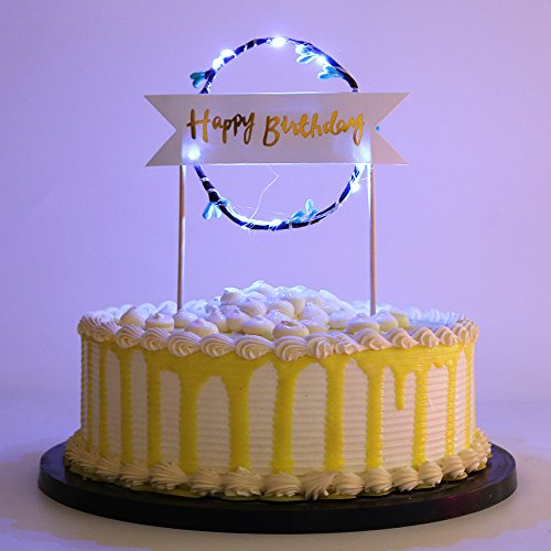 - PALASASA Blue LED lights Happy Birthday Garland cake topper for Birthday Party Decorations