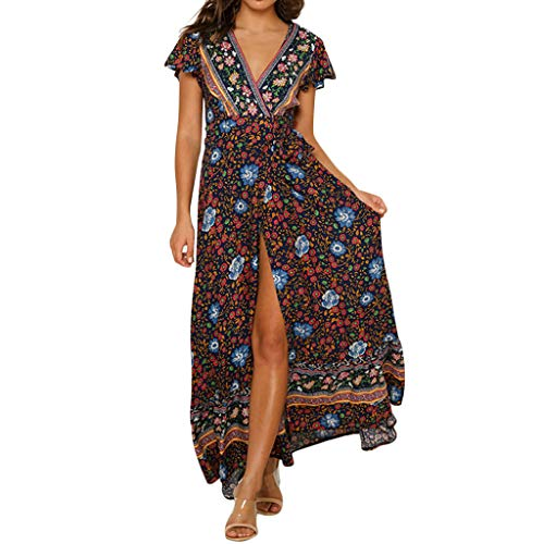 COPPEN Women Dresses Sexy Casual High Waist Bohemia Print V Neck National Style Midi Dress Navy