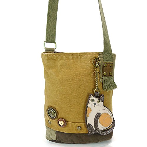 Options Color Cat Cotton Chala Messenger LaZzy Canvas with Patch 6 Brown Bags f5vzq