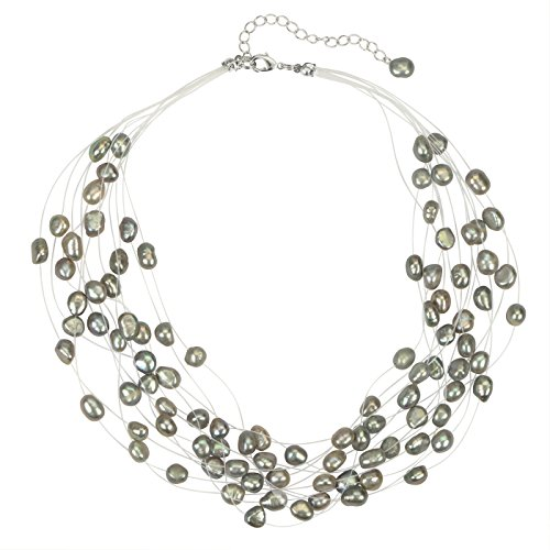 - Regalia Multi Strand Baroque Gray Freshwater Cultured Pearl Floating Necklace