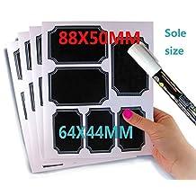 48 Reusable Custom Border Chalkboard Labels Includes Chalk Marker (8 Sheet Pack) Premium Quality Black Decorative Adhesive Stickers