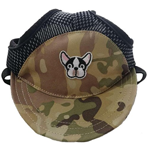 Cotton Dog Visor - UMFun TAILUP Small Pet Summer Canvas Cap Dog Baseball Visor Hat Puppy Outdoor Cap (Green, M)