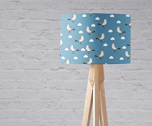 Light Blue Seagulls Lampshade 8 or 12 inch Sailing Seaside Nautical Handmade Fabric Lamp Drum Lamp shade Floor Ceiling Pendant