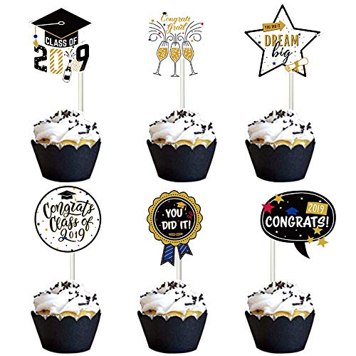 - Graduation Cupcake Toppers,Vanten 24 Pcs Cake Toppers For Class of 2019 Graduation Party,Food and Appetizer Decoration,Congrats Grad Cake Picks