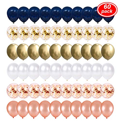 Lsang Navy Blue and Gold Confetti Balloons, 60 pcs 12 inch Rose Gold/Pearl White and Gold Metallic Chrome Birthday Balloons for Birthday Party Wedding Baby Shower Decorations