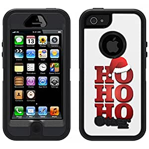 Skin Decal for Otterbox Defender iPhone 5 Case - Ho Ho Ho Red with Santa Hat