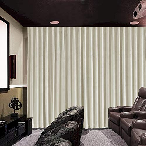 cololeaf Velvet Blackout Lined Home Movie Theater Curtain Drapes Panel, Flat Hooks Curtain for Traverse Rod or Track 100W x 96