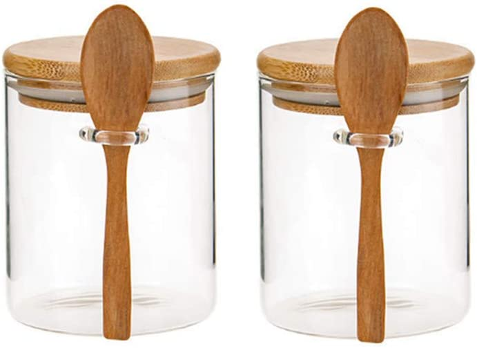Glass Jar Containers with Bamboo Airtight Lid Wooden Spoon Scoop Food Storage Canister Clear Glass Containers Kitchen Organization Jars 2 PSC 450ML