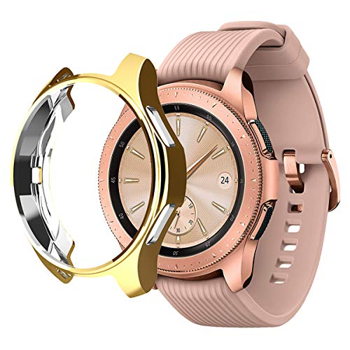 Aotao Case for Galaxy Watch 42mm, Soft TPU Scratch-Resist Frame Protective Bumper Cover Shell for Galaxy Watch 42mm Smartwatch (Gold, 42mm)