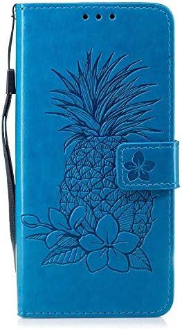 Huawei Mate 10 Lite 財布型 ケース, OMATENTI 薄型 軽量 PU レザー手帳型 財布 ケース, パイナップルのエンボスパターン 耐衝撃ケース カード収納ホルダー付き 横置きスタンド機能付き, 青
