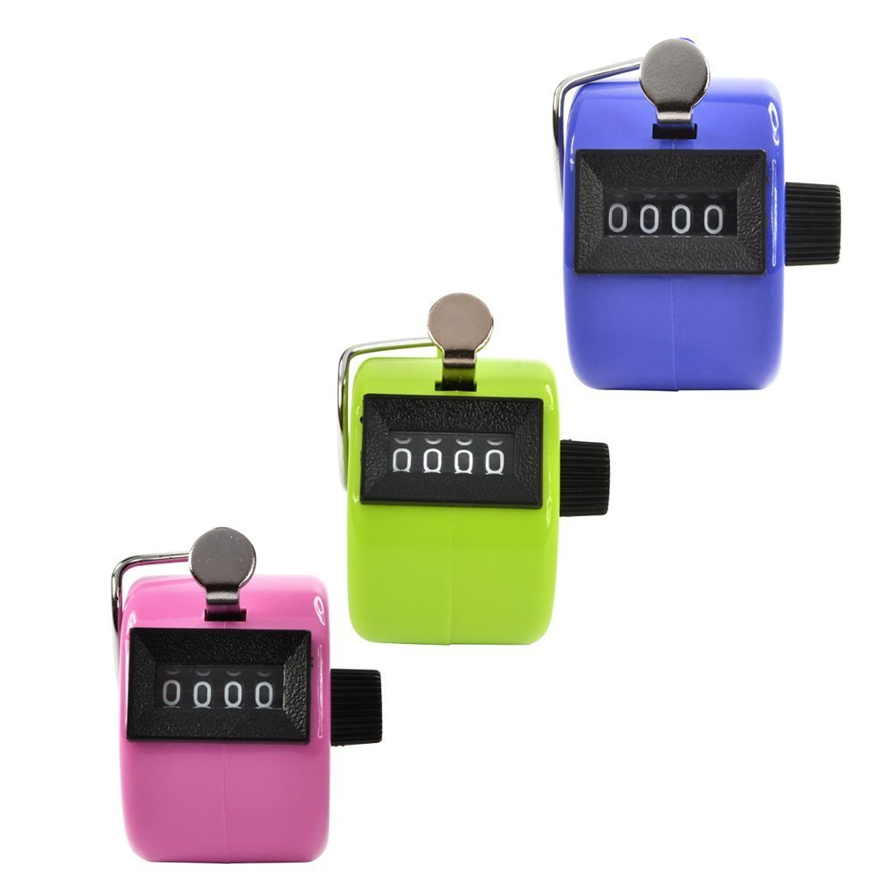 Somnr® Pack of 3 Pink/Blue/Green Color Handheld Tally Counter with 4 Digit Display for Lap/Sport/Coach/School/Event