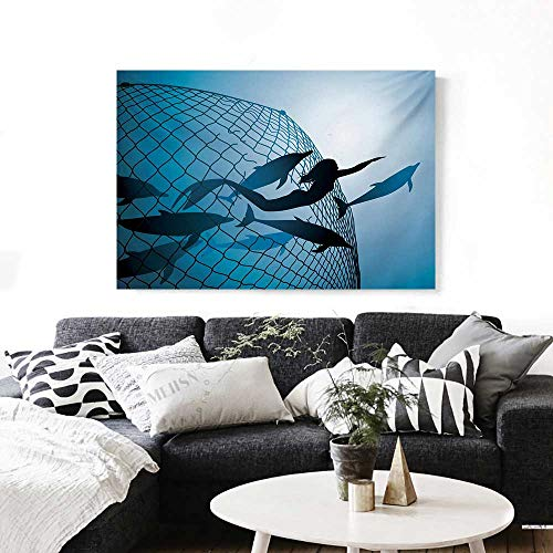 "BlountDecor Underwater Wall Art Canvas Prints Mermaid Rescues Flight of Dolphins from a Fishing Net Freedom Diver Artwork Print Ready to Hang for Home Decorations Wall Decor 36""x24"" Blue"