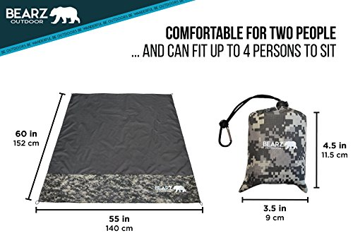 BEARZ Outdoor Beach Blanket/Compact Pocket Blanket 55″x60″ - Lightweight Camping Tarp, Waterproof Picnic Blanket, Festival Gear, Sand Proof Mat for Travel, Hiking, Sports - Packable w/Bag (Camo)