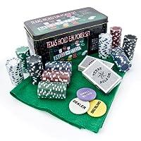 Set Kit Texas Poker Holdem in Scatola 200 Fiches Chips con Campo da Gioco