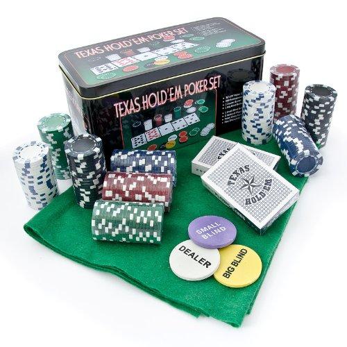 Relaxdays Jeu de poker Texas hold'em poker jeu de poker avec 200 jetons et trrain de jeu boite en métal dalu france