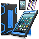 Fire 7 2017 Case, Mignova Heavy Duty Hybrid Protective Case Build in Kickstand for All-New Fire 7 Tablet (7th Generation 2017 Release) + Screen Protector Film and Stylus Pen (Black/Indigo Blue)