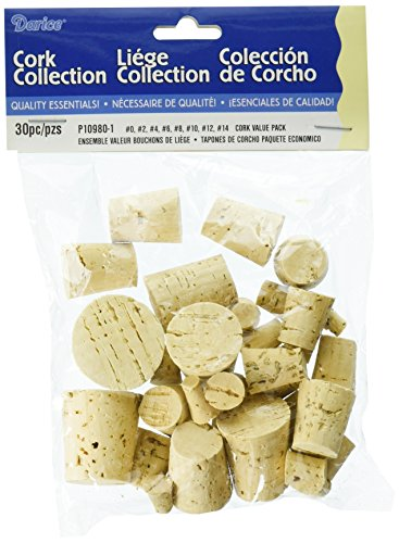 Darice Assorted Corks 30pc  Perfect for Cork Craft Projects Like Wreaths Decorations Ornaments  Use for Plugging Bottles  Includes Eight Cork Sizes #0#14