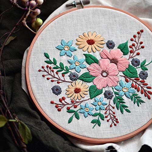 Embroidery Kit for Beginners Cross Stitch Kit for Starter Adults Needlepoint Kits Full Range of Embroidery Kits, Clothes with Stamped Pattern Embroidery Hoop and Color Threads Tools