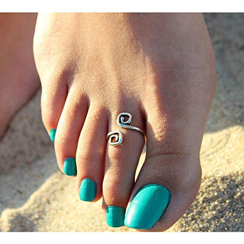 (Aluinn Silver Toe Ring Wave Adjustable Foot Ring Stylish Simple Retro Luck Twist 8 Rings for Women)