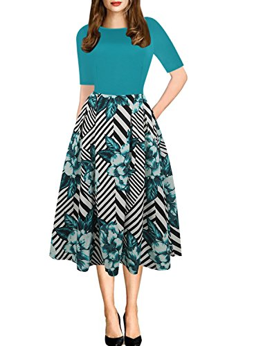 - oxiuly Women's Vintage Patchwork Pockets Puffy Swing Casual Party Dress OX165 (M, Green)