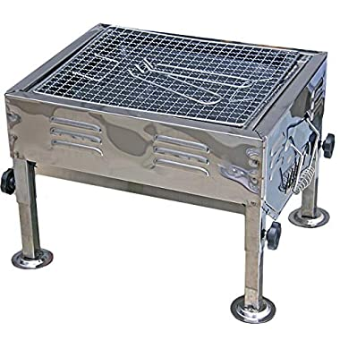 Fabrilla Portable Charcoal Barbeque Grill Set (Silver) 6