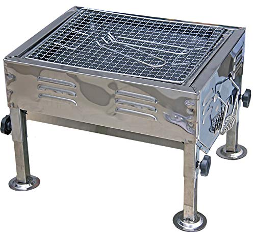 Fabrilla Portable Charcoal Barbeque Grill Set (Silver) 2