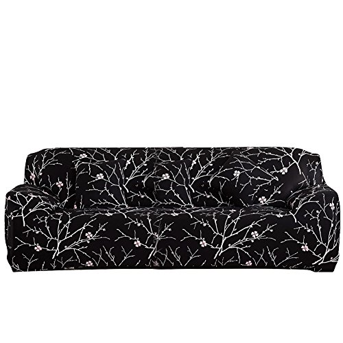 ELEOPTION Stretch Fabric Sofa Slipcover 1 2 3 4 Piece, Elastic Sectional Sofa Cover Slipcover Protector Couch Pure Color For Moving Furniture Living Room (Flower-Black, Three seater(70''-90'')) (Leather 3 Seater Sofa)