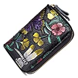 Katech Student Mini Wallet RFID Blocking Cards Holder Purse Accordion Style Synthetic Leather Credit Card Protector Wallet Zipper Closure Security Ladies Travel Purse with 10 Cards Slots