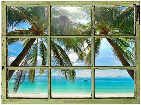 Window View Wall Mural - Palm Tree and Calm Tropical Sea - Vintage Style Wall Decor - Peel and Stick Adhesive Vinyl Material - 24x32 inches