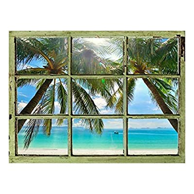 Unbelievable Portrait, Created By a Professional Artist, Window View Wall Mural Palm Tree and Calm Tropical Sea Vintage Style Wall Decor Peel and Stick Adhesive Vinyl Material