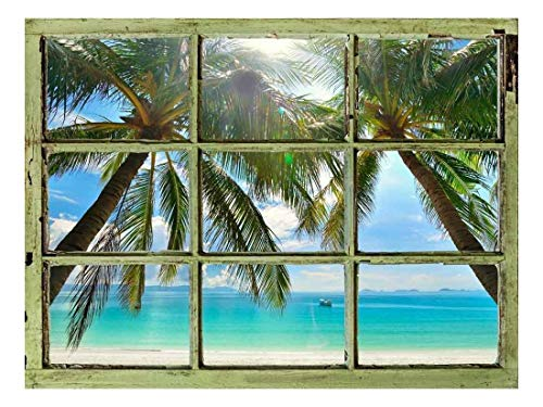 Window View Wall Mural Palm Tree and Calm Tropical Sea Vintage Style Wall Decor Peel and Stick Adhesive Vinyl Material