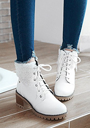 Bottines Martin Talons Fourrure Mode Aisun Femme Bloc Blanc wqYqvfg