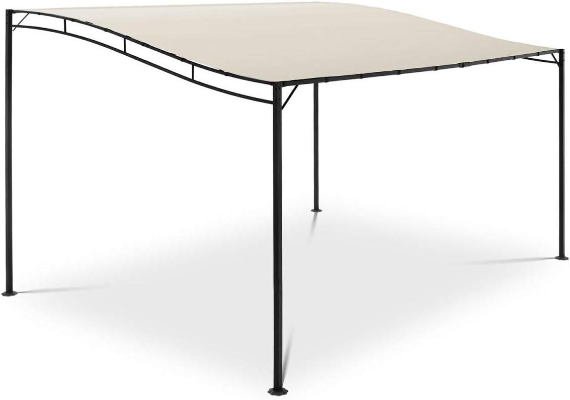 Uniprodo Pérgola De Metal Pabellón para Terraza Uni_Gazebo_3X4B (Toldo de 3 x 4 m, 180 g/m², Altura Total: 2,40 m, Color Crema)