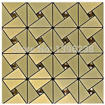 Golden Aluminium Kunststoff Spiegel Glas Mosaik Wandfliesen, 30x30cm  Selbstklebende Metall Mosaik Fliesen Aufkleber,