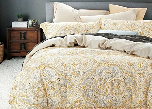 Antique Italian Renaissance Baroque Scroll Medallions 3pc Duvet Cover Set Cotton Beige Blush Black Floral Ornamental Motif Royal Venetian Swirl Bedding (King, Mustard) - Versailles Quilt