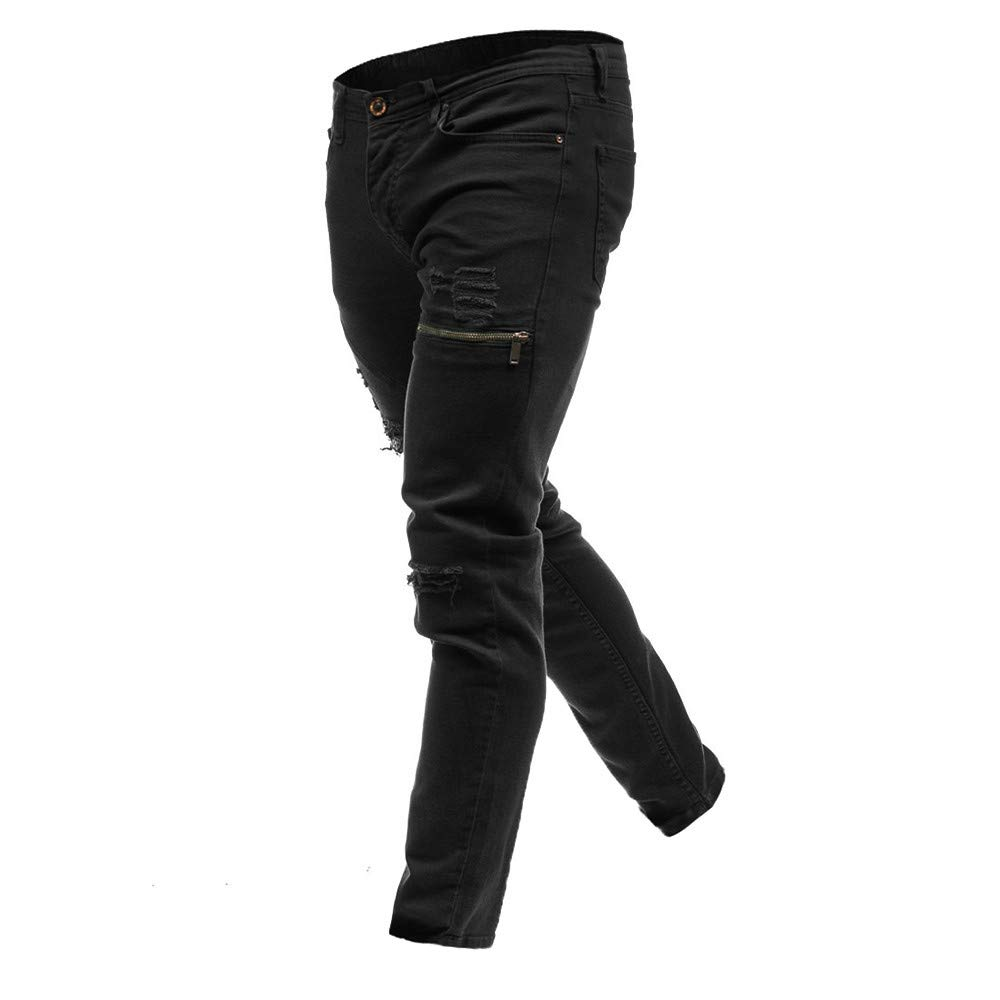 Hunzed Men【Distressed Zip Pants】 Skinny Denim Stylish Zipper Pocket Jeans Casual Holes Denim Pants