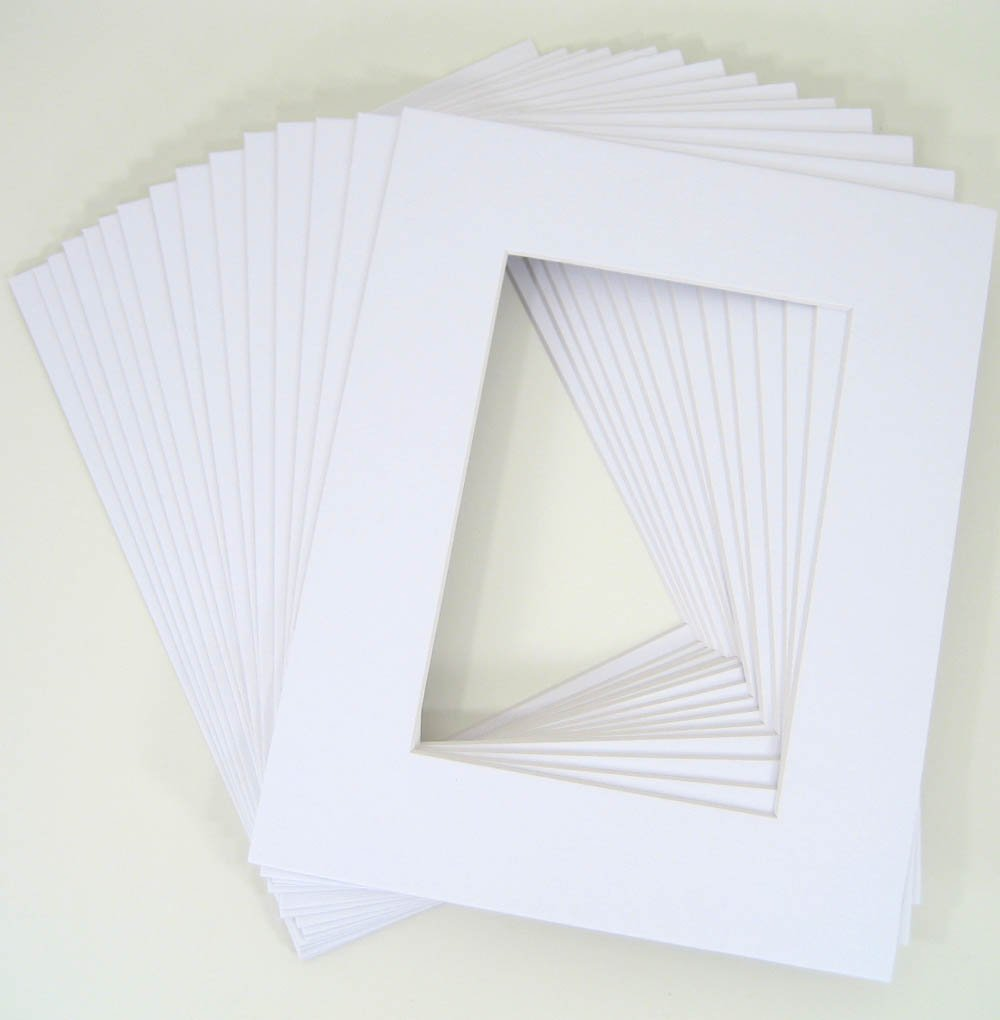 Golden State Art Pack of 50 8x10 WHITE Picture Mats Mattes with White Core Bevel Cut for 5x7 Photo + Backing + Bags by Golden State Art
