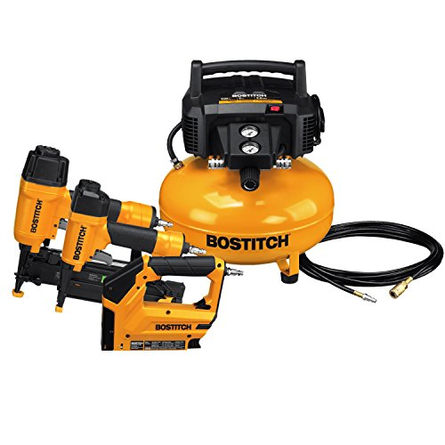 BOSTITCH BTFP3KIT 3-Tool Portable Air Compressor Combo Kit Crown Molding 2 Light