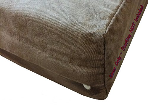 Dogbed4less DIY Pet Bed Pillow Brown Denim Duvet Cover and Waterproof Internal case for Dog at 47X29X4 Inch - Covers only