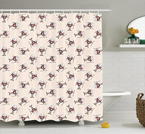 Humpty Dumpty Egg (Ambesonne Alice in Wonderland Decorations Collection, Humpty Dumpty Egg Dancing Character Fairy Alice Fantasy Decor, Polyester Fabric Bathroom Shower Curtain Set with Hooks, Pink Brown Red)