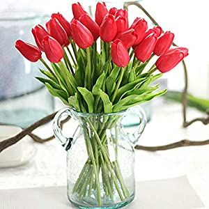 GSD2FF 1PC PU Tulips Artificial Flowers Real Touch Artificial Decora Mini Tulip for Home Wedding Decoration Flowers,Red 17