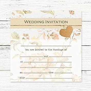 Hochzeit Einladung Postkarte U2013 Shabby Chic Blumen, 10 Stück