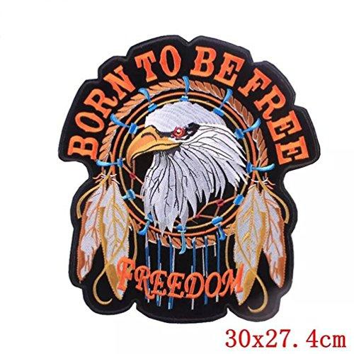 Bella Parches Apliques Sticker Parche Termoadhesivo Águila Bron to Be Free Freedom Bordado Motocicleta Rider Biker Halle Moto Patch para Chaleco ...