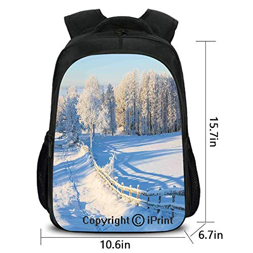Durable Waterproof Backpack,Winter Snow Valley with Oak Borders Pines Frozen Pastoral High Cold Lands,School Bag :Suitable for Men and Women,School,Travel,Daily use,etc.White Blue