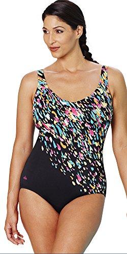 5e17efb01b Aquabelle Women s Plus Size Chlorine Resistant V-Neck Swimsuit 18 Multi