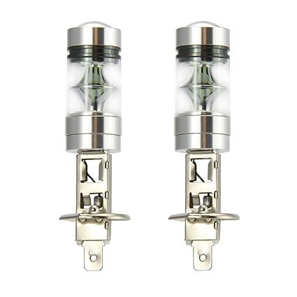 2 x H1 LED niebla luz bombilla 100W alta potencia 20-SMD 8000 k ...