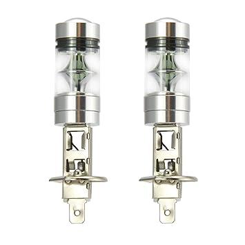 2 x H1 LED niebla luz bombilla 100W alta potencia 20-SMD 8000 k LED bombillas proyector niebla conducción DRL lámparas de luz azul hielo: Amazon.es: Coche y ...