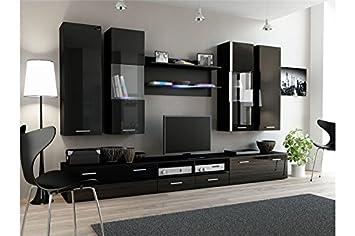 Ensemble Meubles Tv Design Sirus 2 Noir Amazonfr Cuisine Maison