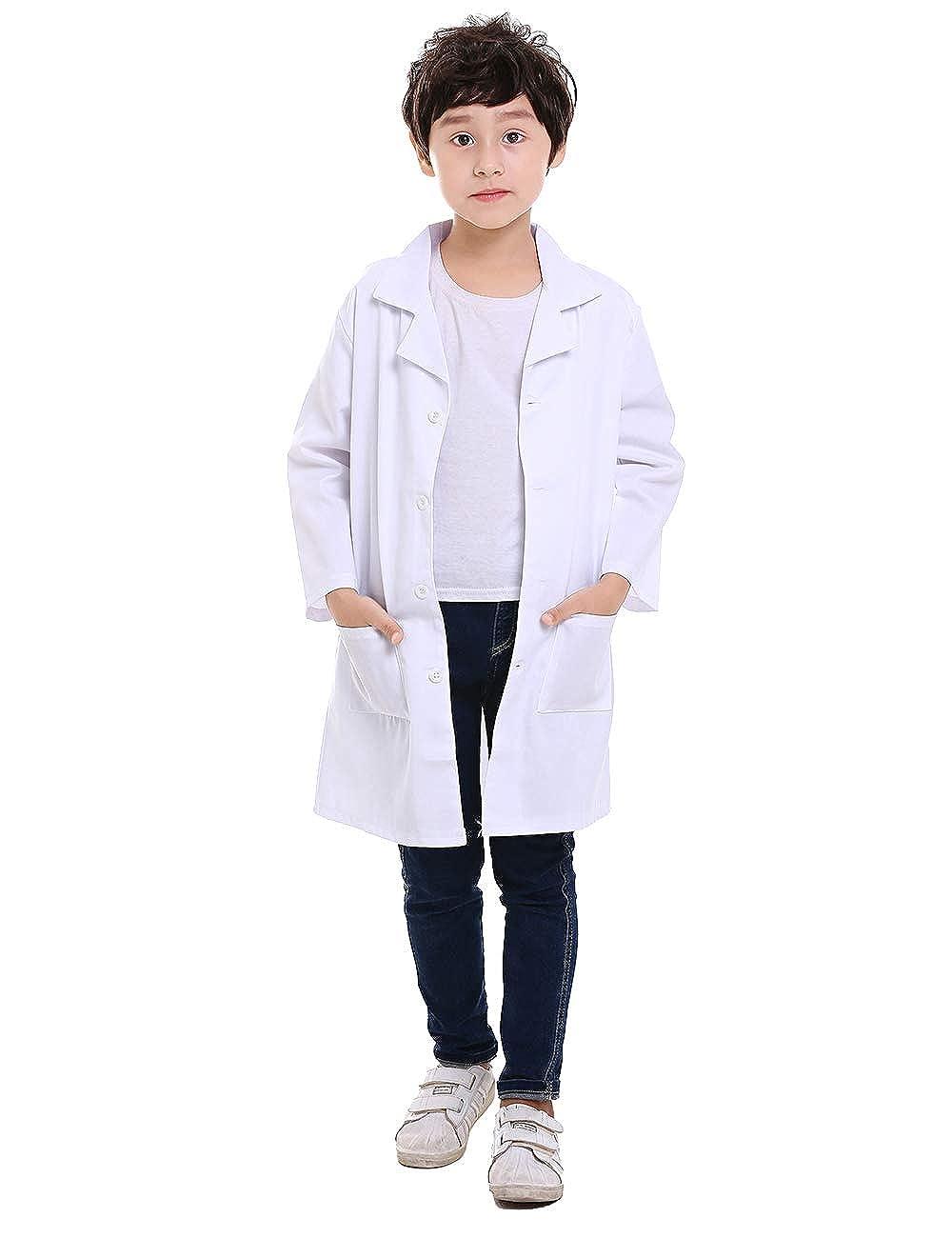 COTTON KIDS BOYS CHILDREN WHITE LAB COAT JACKET DOCTOR MEDICAL SCHOOL SHOWS